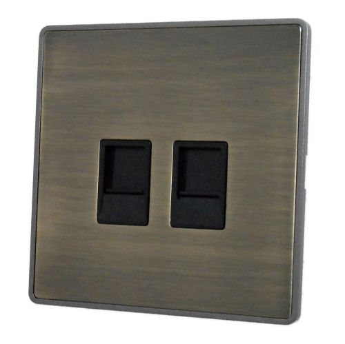 G&H LAB64B Screwless Antique Bronze 2 Gang Slave BT Telephone Socket